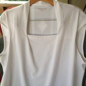 1X ColdWater Cr  square neck white sleeveless top
